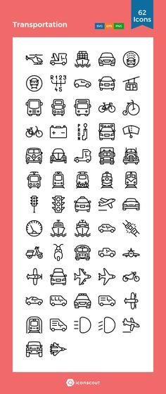 Transportation Icon Pack - 62 Line Icons