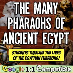 Ancient Egypt and its Many Pharaohs! An Egyptian Time-Lining Assignment! This Egypt Pharaohs lesson is included in the much larger Ancient Egypt and Mesopotamia Bundle, located here: Ancient Egypt and Mesopotamia Bundle! 10 Fun Resources for Ancient Egypt Lessons, Ancient Egypt Activities, Life In Ancient Egypt, Ancient Egypt Pharaohs, Ancient Civilizations, Social Studies Resources, Teaching Social Studies, Lab, Egypt Jewelry