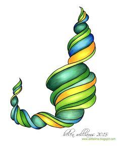 narwal tangle - shades of green- Helen Williams