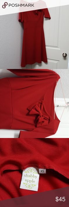 Shabby Apple Red caledonia dress Beautiful red, with bow, worn twice, great condition, classy Shabby Apple Dresses Midi