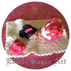 MINNIE MOUSE BABY Shower Cake Topper Minnie Mouse birthday Party Fondant Edible Cake Topper Mickey Mouse Clubhouse