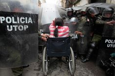 """""""Thousands of people with crutches and in wheelchairs protested against the government of Bolivia in February. They were protesting what they believe to be an inadequate welfare system."""""""
