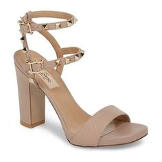 c32b287c3ab rockstud ankle strap sandal by Valentino. Large-grain leather at the vamp  and a