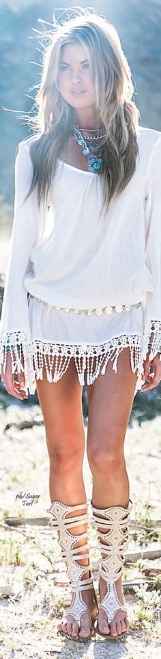 Boho chic. White peasant dress.