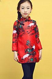 Girl's Quilt Cheongsam / Qipao Dress with Crane Pattern