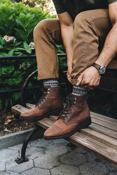 men's outfits – High Fashion For Men Brown Boots Outfit, Dress With Boots, Mens Brown Boots, Men Boots, Leather Men, Leather Boots, Rugged Style, Classic Man Style, Mens Boots Fashion