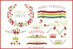 Holiday Floral Clipart Vector by Kelly Jane Creative on Creative Market