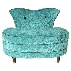 Vintage velvet pouf chair in Aqua. Paz Interior, Interior Design, Josie Loves, Love Chair, Teal Chair, Turquoise Chair, Shades Of Turquoise, Aqua, In Vino Veritas