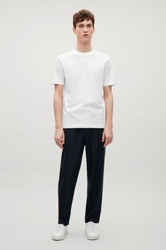 COS image 6 of T-shirt with rib neck in White