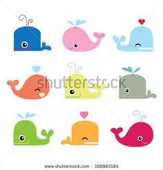 Cute Whales for mural