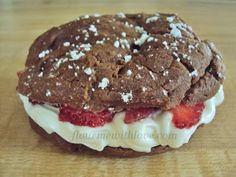 Flour Me With Love: Chocolate Cream Puffs with Whipped Cream Cheese & Strawberries