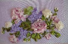 Roses and Lilac Flowers - silk ribbon embroidery