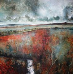 """A river runs to the bright sea"" - mixed media - by Stewart Edmondson"