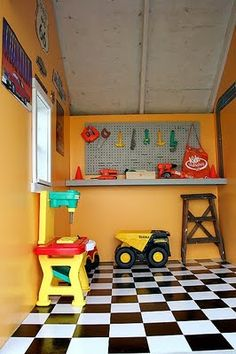 cutest little things: A little boy's playhouse revealed Inside Playhouse, Boys Playhouse, Backyard Playhouse, Build A Playhouse, Wooden Playhouse, Playhouse Ideas, Outdoor Playhouses, Playhouse Decor, Cubby Houses