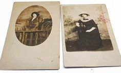 2 vintage postcards featuring the same lady in different outfits and hats. Both have corners bumped and one has a bit of red on it as shown in photo.