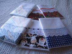 Panos de prato em tecido alvejado de trama fechada, ideal para pintura, da Engomatextil 100% algodão medindo 72X45cm com barrado de 10cm...