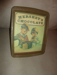 Hershey's Chocolate Tin Tray collectible wall hanging novelty item 1982 find me at www.dandeepop.com