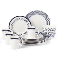 kate spade new york Charlotte Street 16 Piece Dinnerware Set, Service for 4 | Wayfair Blue Dinnerware, Casual Dinnerware, Dot Band, Pattern Mixing, China Porcelain, Stripes Design, Yorkie, Dinner Plates, Dillards