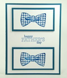 Bow Ties For Dapper Dad On This Handmade Fathers Day Card Navy White  | cardsbylibe - Cards on ArtFire