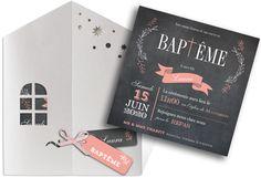 """Faire part baptême fille qui s'est glissé dans une ravissante pochette """"maison"""" avec son ruban et ses étiquettes que vous pourrez personnaliser, ref N91018"""