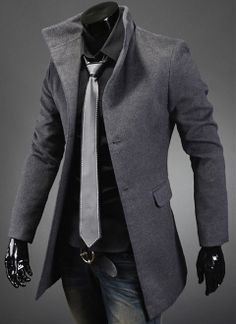 Men's High Collar Coat with Back Leather Details-- I know this is for men, but it's so hot!