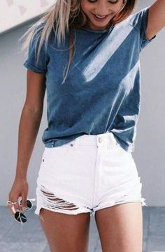summer outfits Shorts And A Tee Are Super Cute Lazy Girl Outfits That Still Look Polished!