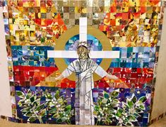 Craft project led my Rev Mary Lamb using Christmas cards for this wonderful design