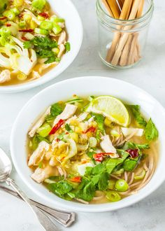 This soba noodle soup with chicken and baby bok choy is speedy comfort food! Seasoned with ginger, lime, scallions, and herbs. A true 30-minute meal.