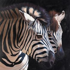 'Two Zebras' by P. Charles Framed Graphic Art on Wrapped Canvas