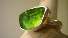 Custom Select your Rough Peridot ring  Sterling by metalmorphoz, $126.00