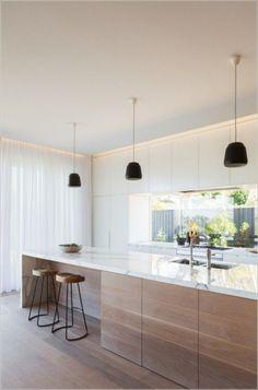 Lovely Minimalist Kitchen Decor And Design Ideas - Küche Ideen Home Decor Kitchen, Interior Design Kitchen, New Kitchen, Kitchen Ideas, Room Interior, Interior Modern, Modern Luxury, Kitchen White, Kitchen Wood