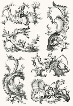 Rocaille ornaments for andirons and fireplace decoration.  From Architecture, décoration et ameublement pendant le dix-huitième siècle (Architecture, decoration, and furnitures in the 18th century), by Léon Roger-Milès, Paris, 1900.  (Source: archive.org)