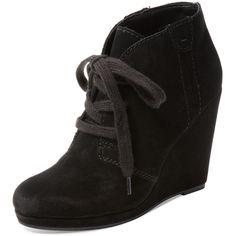 Dolce Vita Gael Suede Chukka Bootie ($79) ❤ liked on Polyvore featuring shoes, boots, ankle booties, black, black lace up booties, platform wedge booties, lace up platform booties, black leather ankle booties and black platform boots
