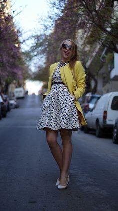 STAM: <Yellow: My Fav> post. yellow manto//white heels//patterned dress