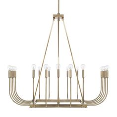 Inspired by design trends of the 1920s, this Floyd 20-Light Candle-Style Chandelier is updated for today's home with fresh angles and a warm aged brass finish. Transform the look by simply changing the bulbs. Round G16 bulbs give it modern flair, while tubular bulbs exude vintage charm.