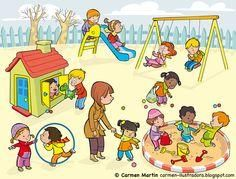 Carmen Martín Illustrator: Prints and Posters of Early Childhood Education Speech Activities, Therapy Activities, Preschool Activities, Speech Language Therapy, Speech And Language, Speech Therapy, Playground Pictures, Picture Comprehension, Sequencing Pictures