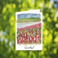Goodbye Card Download: Watercolor River Scene by LeavesOfPaper