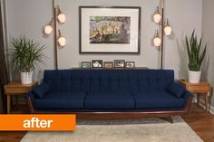 Adrian Pearsall style sofa found on Craigslist - reupholstered & restructured for $1,100