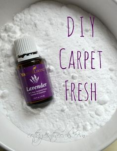 DIY Carpet Fresh 1 small box of baking soda 10-15 drops of Young Living Lavender Essential Oil