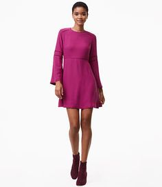 Image of Cutout Bell Sleeve Flare Dress