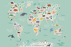 Animals world map vector illustration preschool babycontinents safari kids map mural wallpaper custom made to suit your wall size by the uks no1 for murals custom design service and express delivery available gumiabroncs Images