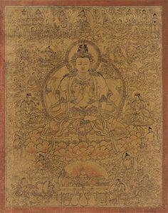 Meditation and health: Four-Arm Guanyin Bodhisattva Golden Thangka
