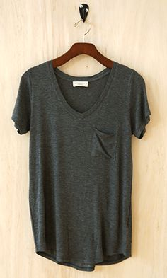 Perfectly Imperfect One-Pocket Shabby Tee, Charcoal - Conversation Pieces