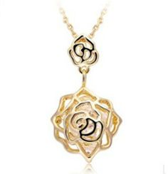Rose Flower Shaped Necklaces Rose Gold by UloveFashionJewelry, $8.18