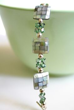 Mermaid Green Shell Eco Bracelet #summer #accessories #beach #wedding #Beads #Bracelet #Square #Crystal