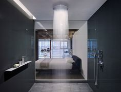 Shower Room. Love the wood floor in bedroom