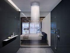 Shower Room. Love the wood floor in bedroom