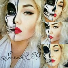We all know that a skeleton or skull makeup is an absolute classic and timeless Halloween favourite. And with all the amazingly talented mak. Scary Makeup, Clown Makeup, Skull Makeup, Sfx Makeup, Costume Makeup, Halloween 2014, Scary Halloween, Halloween Make Up, Halloween Party