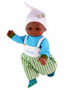 """Petitcollin 14"""" Black Multicultural Boy Baby Doll Petit Calin Safely Made France"""