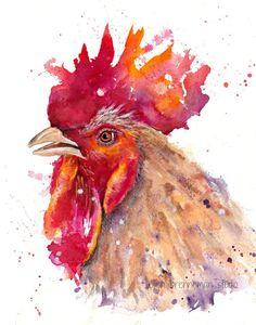Rooster watercolor art print by Ellen Brenneman Watercolor Bird, Watercolor Animals, Watercolor Illustration, Watercolour Painting, Watercolors, Rooster Painting, Rooster Art, Chicken Painting, Chicken Art